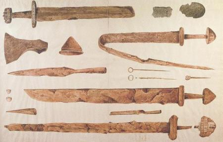 Viking grave goods from Kilmainham (watercolour by James Plunkett, 1847)
