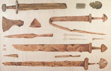 Viking grave goods from Kilmainham (watercolour by James Plunkett, 1847)