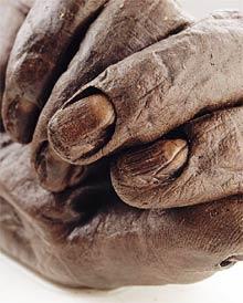 Bog body hand