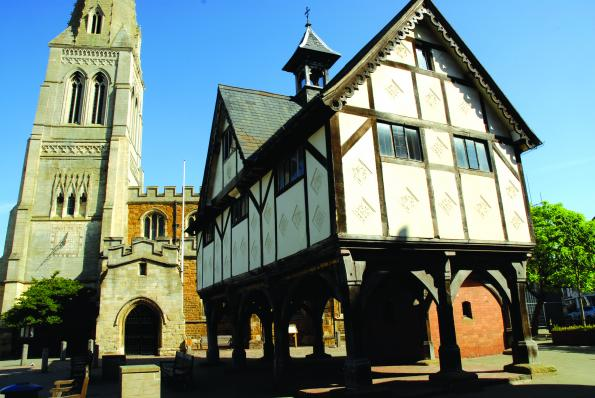 St Dionysius Church and the old timber framed Grammar School