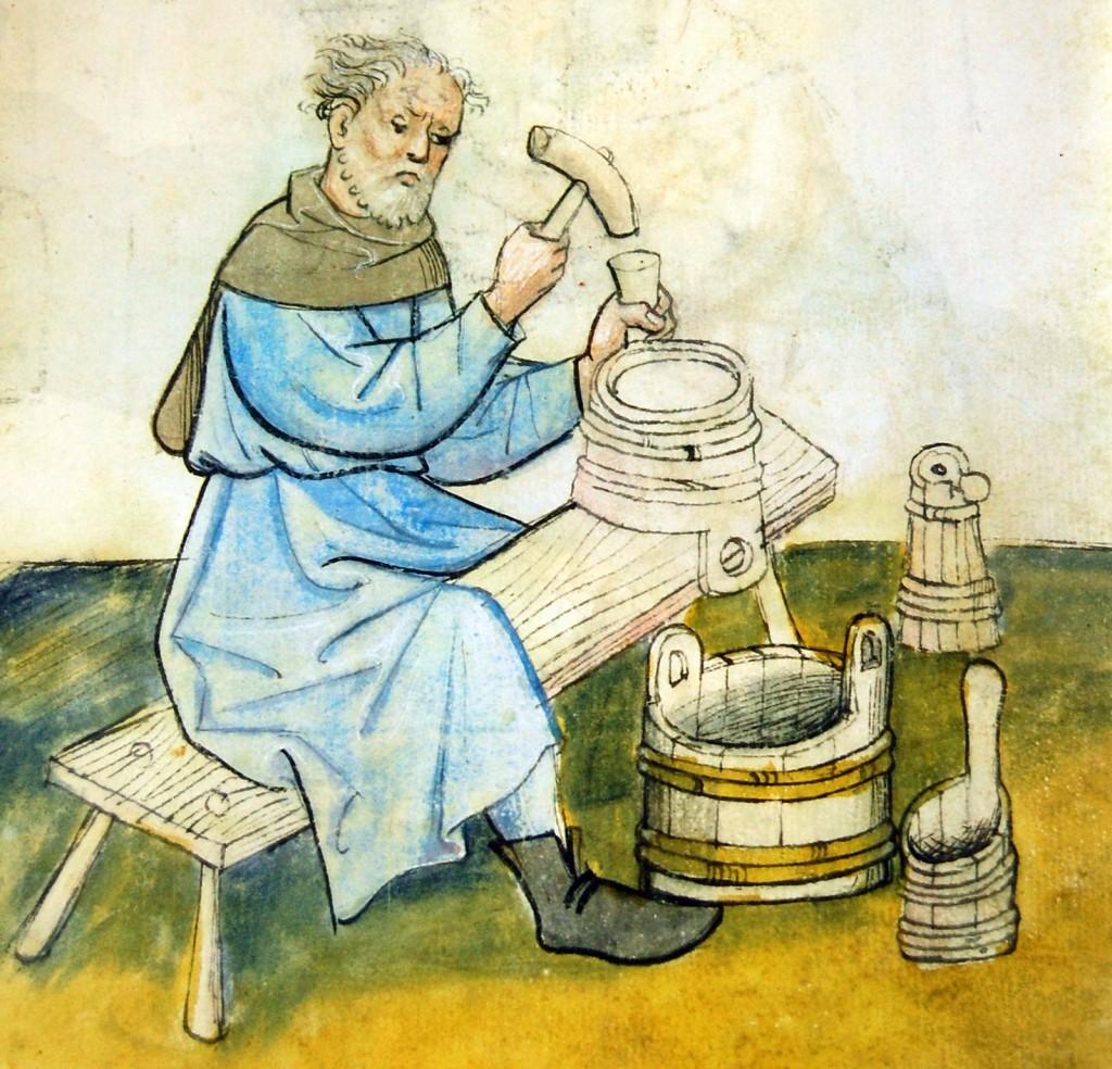 A medieval cooper at work (Hausbuch der Mendelschen Zwolfsbruderstiftung)