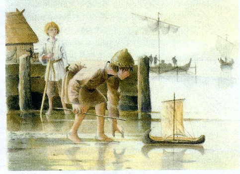 Children playing with the Winetaven Street toy boat. Artist's impression by Jane Brayne