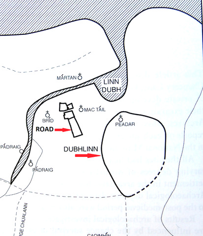 Location of the early medieval road and Dubhlinn monastery (after Clarke 2002 & Walsh 2009)