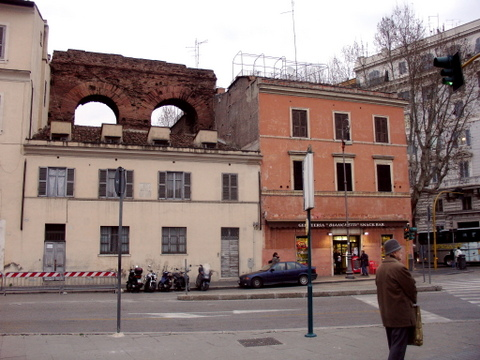 Section of Neronian aqueduct integrated into modern buildings, Rome