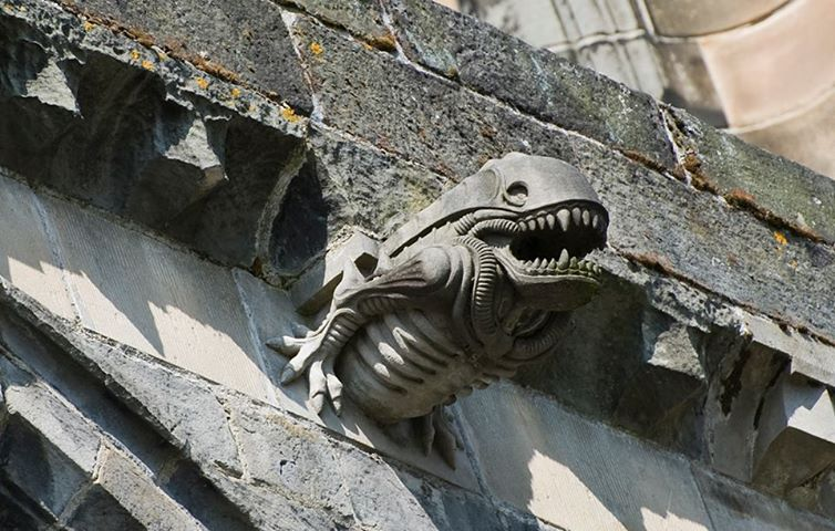 this darth vader gargoyle is on one of spires at the national