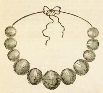 Image of the balls sketched shortly after they were found, from the Dublin Penny Journal, 1834