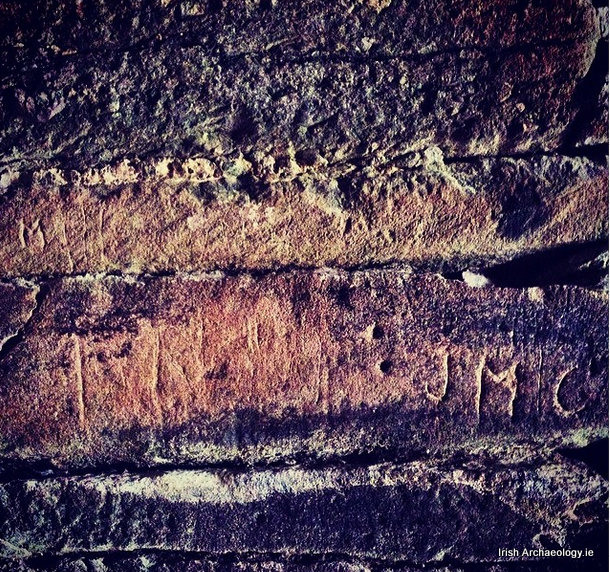 19th century graffiti inside the church