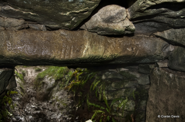 Ogham Stone  Uaimh na gCat or the Cave of the Cats, Rathcroaghan