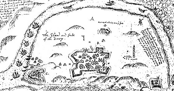 'The Iand and fort of Derry', a map from 1600 (source)