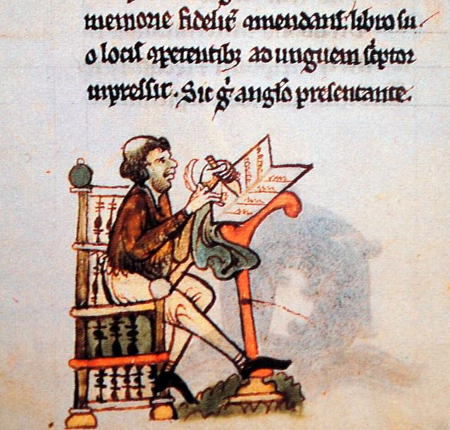 Early Irish scribe (from Topographia Hiberniae by Giraldus Cambrensis)